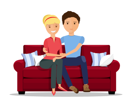 Loving couple sitting on couch. Flat style vector illustration isolated.