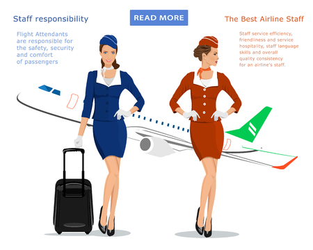 Flight attendants vector concept for web banner: stewardess in blue uniform with suitcase, stewardess in red suit and flying plane on background. Beautiful young women.
