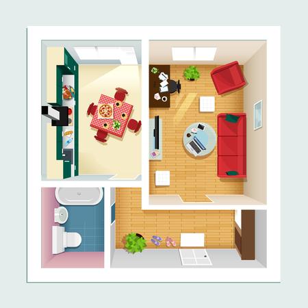 Moderner detaillierter Grundriss für Wohnung mit Küche, Wohnzimmer, Bad und Flur. Draufsicht des Wohnungsinneren. Vektor flache Projektion. Möbelikonen eingestellt. Vektorgrafik