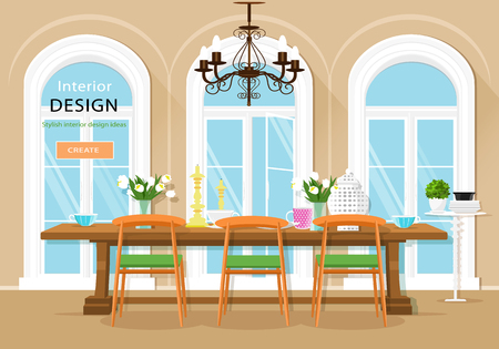 Vintage graphic dining room interior with dining table, chairs and large windows. Flat style vector illustration.
