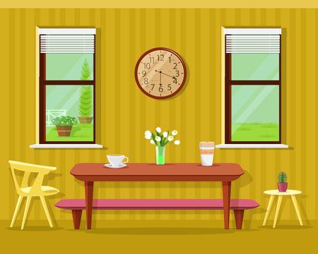 Intérieur de salle à manger moderne mignon : table avec des tasses à café et des fleurs, des chaises, une horloge et des fenêtres. Ensemble de meubles de cuisine de vecteur. Vecteurs