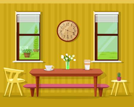 Cute modern dining room interior: table with coffee cups and flowers, chairs, clock and windows. Vector kitchen furniture set. Illustration