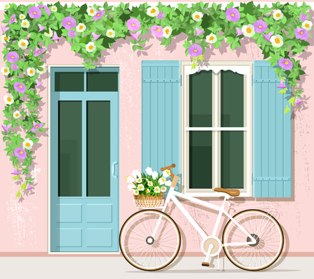 Bicycle with flowers near provence style house. Vintage building facade. Vector set: door, window, bicycle, flowers.