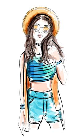 Fashion model in hat. Sketch woman. Vector illustration.