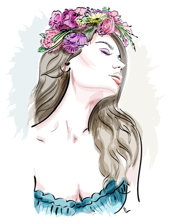 Portrait of beautiful young woman with curly hair and flower wreath. Stylish sketch. Hand drawn woman. Vetores