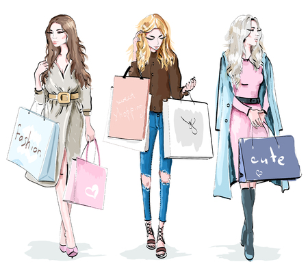 Set of beautiful young girls with shopping bags. Fashion women. Shopping day concept. Stylish sketch. Vector illustration. Foto de archivo - 114746611