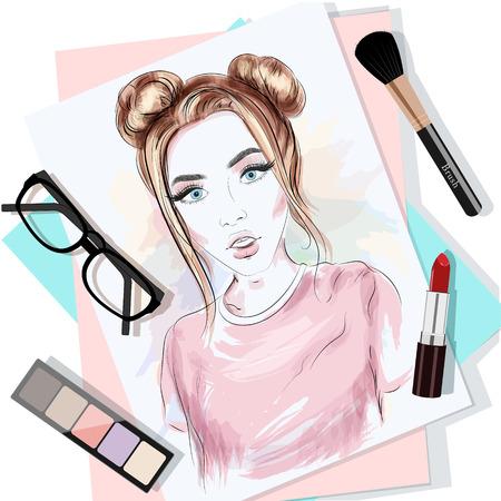 Draufsicht auf den Tisch mit Papieren, Frauenporträt, Pinsel, Lippenstift, Brille und Lidschatten. Stilvolles Grafikset. Mode-Vektor-Illustration.