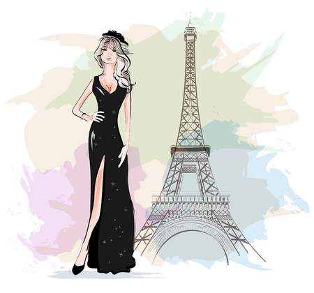 Beautiful fashion woman with Eiffel Tower on background. Sketch. Vector illustration.