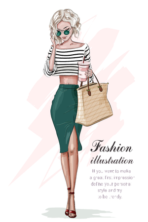Stylish blonde girl in fashion clothes, with bag and coffee cup. Hand drawn beautiful girl. Fashion woman. Sketch. Vector illustration. Banque d'images - 118201656