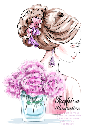 Beautiful young girl with flowers. Fashion woman with beautiful hairstyle. Sketch. Vector illustration.