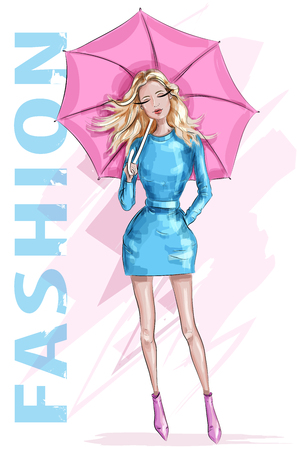 Fashion pretty woman with umbrella. Stylish girl with blonde hair. Sketch. Fashion girl. Vector illustration. Illustration