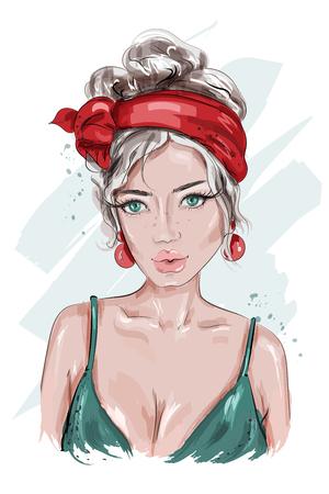 Piękna dziewczyna pin up. Ręcznie rysowane moda kobieta. Młoda kobieta ubrana w stylu pin-up. Portret kobiety moda. Naszkicować. Ilustracja wektorowa.