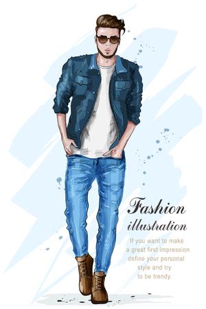 Bel homme élégant dans des vêtements de mode. L'homme de la mode. Modèle masculin dessiné à la main. Esquisser. Illustration vectorielle.
