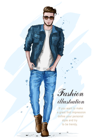 Stylish handsome man in fashion clothes. Fashion man. Hand drawn male model. Sketch. Vector illustration. Ilustracja