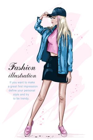 Stylish beautiful girl in cap. Fashion girl. Hand drawn cute woman in fashion clothes. Sketch. Vector illustration. Foto de archivo - 123722211