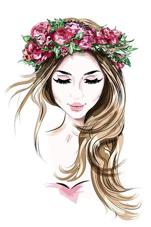 Dibujado a mano hermosa joven en guirnalda de flores. Linda chica de pelo largo. Bosquejo. Ilustración de vector.