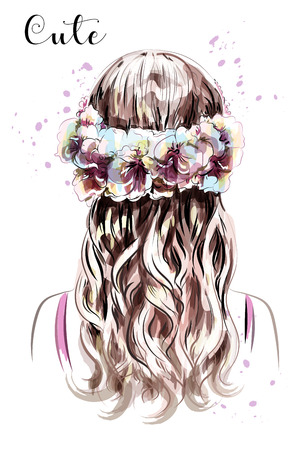 Hand drawn long hair girl in flower wreath. Brown hair. Cute curly hairstyle. Sketch. Vector illustration. Çizim