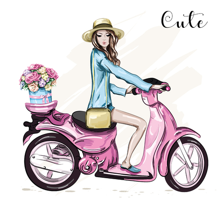 Beautiful young girl in hat with cute pink scooter. Girl scooter with flower box. Sketch. Vector illustration. Illustration