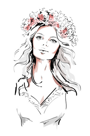 Beautiful young woman with flowers wreath in long hair. Hand drawn woman portrait. Sketch. Vector illustration. Illustration