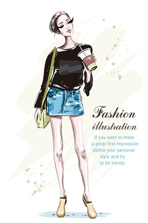 Beautiful young woman with coffee cup. Hand drawn fashion lady with bag. Stylish girl in fashion clothes. Sketch. Vector illustration.