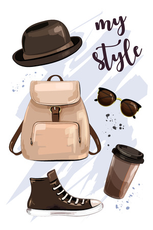 Stylish outfit. Hand drawn set with hat, bag pack, shoe, sunglasses and coffee cup. Fashion accessories and clothes. Sketch. Vector illustration.
