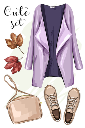 Hand drawn fashion clothes set: coat, bag, shoes. Stylish clothing outfit. Sketch. Vector illustration.