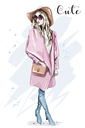 Beautiful young woman in coat and hat. Stylish clothing outfit. Fashion look. Sketch. Vector illustration. Illustration