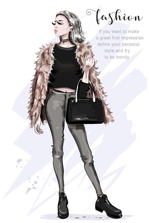 Schöne junge Frau in modischer Kleidung: Kunstpelzjacke, Jeans, bauchfreies Top. Stilvolle Frau mit Tasche. Modebewusste Dame. Skizzieren.
