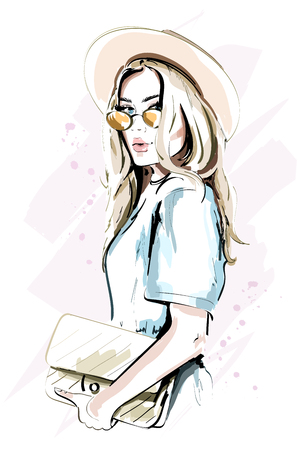 Beautiful young woman in hat. Fashion lady in sunglasses. Stylish woman portrait. Sketch. Vector illustration. Illustration