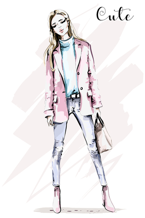 Hand drawn full body woman portrait. Beautiful young girl with bag. Fashion woman. Sketch.