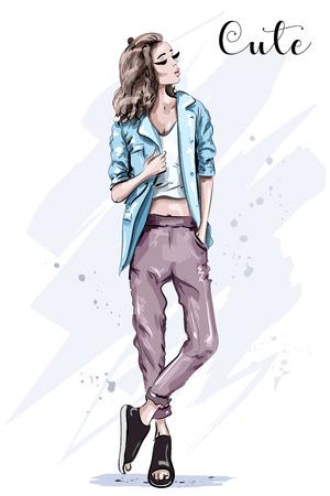 Hand drawn fashion model posing. Stylish beautiful woman in jacket. Sketch. Fashion look. Standard-Bild - 123722303