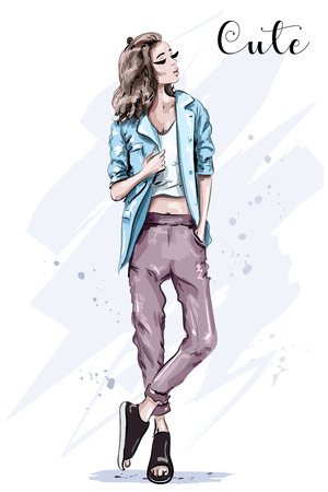 Hand drawn fashion model posing. Stylish beautiful woman in jacket. Sketch. Fashion look.