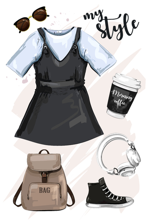 Hand drawn fashion clothing set with backpack, dress coffee cup, sunglasses, shoe and headphones. Stylish outfit. Sketch. Illustration