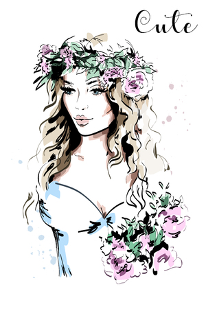 Beautiful young woman in wreath. Hand drawn woman portrait. Fashion lady. Sketch. Vector illustration. Illustration