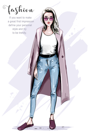 Cool hand drawn fashion woman in coat. Stylish beautiful woman in sunglasses. Fashion look. Sketch. Vector illustration. Illustration