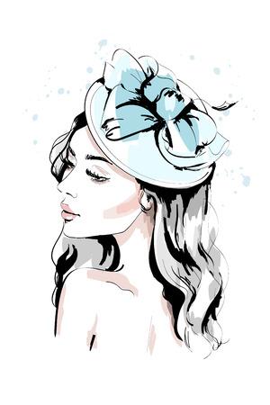Beautiful young woman in hat. Hand drawn fashion woman portrait. Fashion model face. Sketch. Vektoros illusztráció