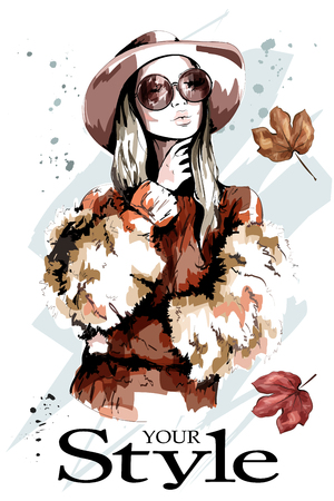 Fashion lady in hat. Beautiful young woman portrait. Stylish woman in sunglasses. Sketch.