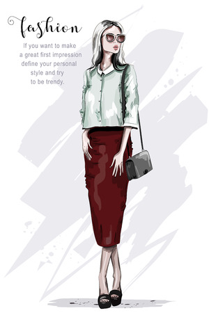 Stylish woman in red skirt. Fashion woman. Hand drawn beautiful young lady in sunglasses. Sketch. Vector illustration.