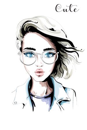 Hand drawn beautiful woman portrait. Fashion woman in eyeglasses. Stylish blond hair girl. Sketch.