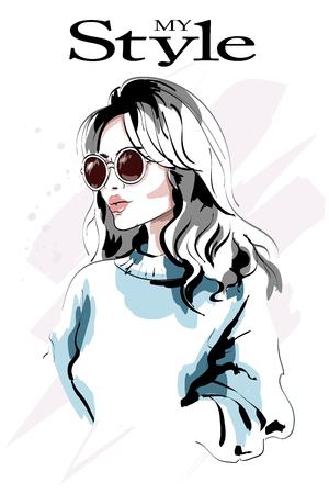 Retrato de mujer joven hermosa de pelo rubio. Mujer de moda. Chica de moda dibujada a mano en gafas de sol. Bosquejo.