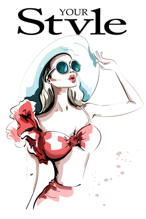 Stylish woman in hat. Hand drawn beautiful young woman in sunglasses. Fashion lady. Sketch.