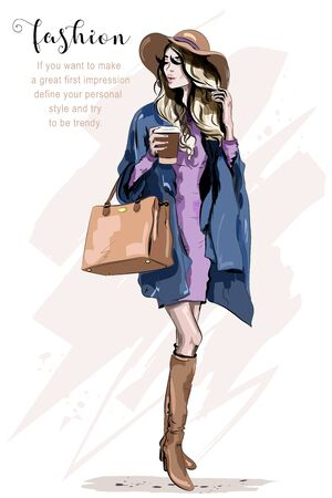 Beautiful young woman in hat. Stylish woman in fashion clothes. Fashion lady. Autumn outfit. Hand drawn girl holding coffee cup. Sketch. Illustration