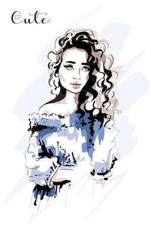 Hand drawn beautiful young woman portrait. Fashion woman with curly hair. Sketch
