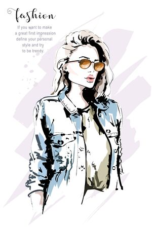 Hand drawn beautiful stylish woman in sunglasses and jeans jacket. Fashion woman portrait. Sketch. Vector illustration. Illustration
