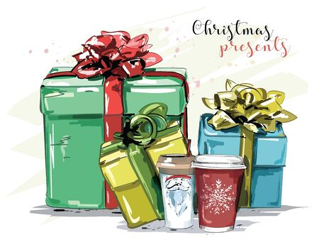 Hand drawn set with christmas presents and coffee mugs. Cute present boxes with bows and ribbons. Sketch. Vector illustration.