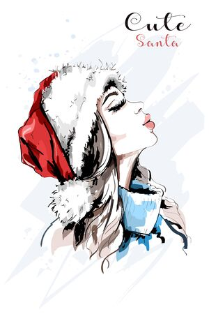 Stylish hand drawn woman portrait. Woman in santa red hat. Beautiful young girl. Sketch. Illustration