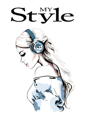 Beautiful young woman profile. Hand drawn woman portrait. Fashion girl in headphones. Sketch. Vector illustration.