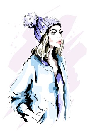 Beautiful young woman in knitted Hat with Fur Pom-Pom. Hand drawn stylish woman portrait. Fashion lady. Winter outfit. Sketch. Illustration