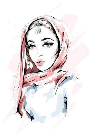 Beautiful Muslim Woman Wearing Hijab. Fashion woman portrait. Stylish lady. Sketch. Vector illustration. Illustration