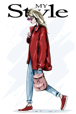 Stylish beautiful woman in red jacket. Hand drawn fashion woman with backpack. Fashion blond hair model in sunglasses. Sketch. Vector illustratio